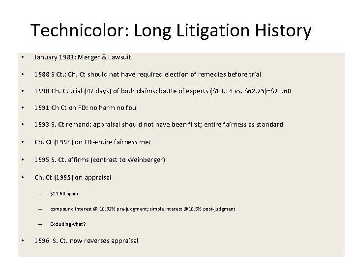 Technicolor: Long Litigation History • January 1983: Merger & Lawsuit • 1988 S Ct.