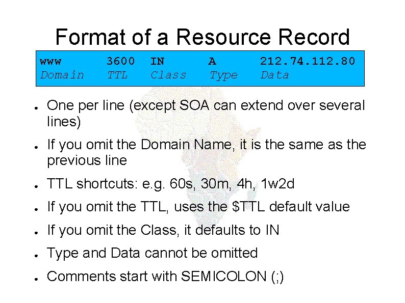 Format of a Resource Record www Domain ● ● 3600 TTL IN Class A