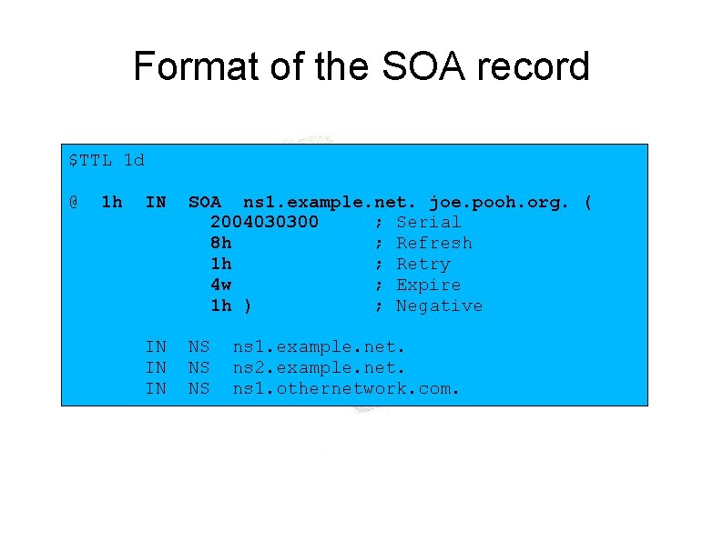 Format of the SOA record $TTL 1 d @ 1 h IN SOA ns