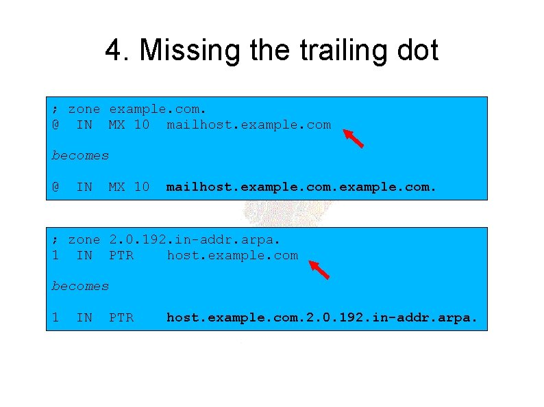 4. Missing the trailing dot ; zone example. com. @ IN MX 10 mailhost.