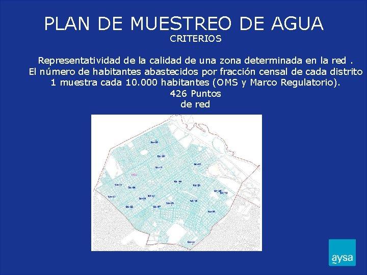 PLAN DE MUESTREO DE AGUA CRITERIOS Representatividad de la calidad de una zona determinada