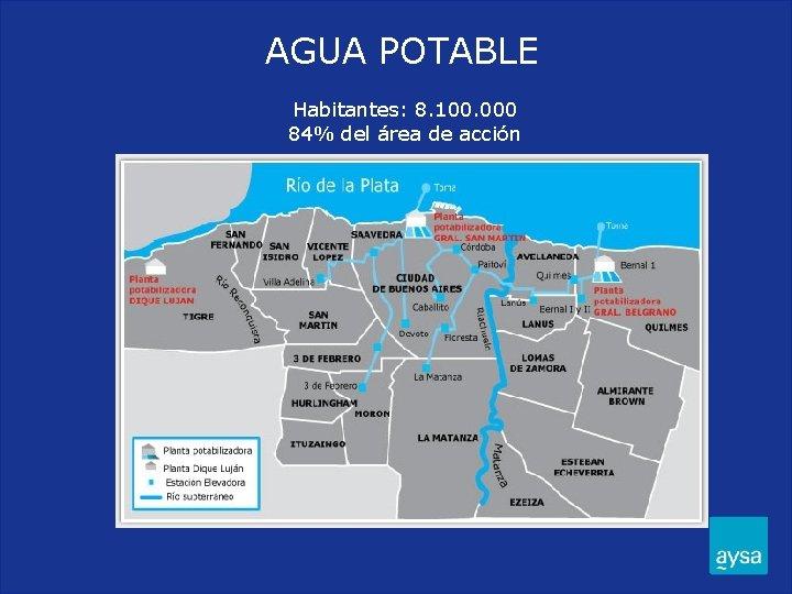AGUA POTABLE Habitantes: 8. 100. 000 84% del área de acción