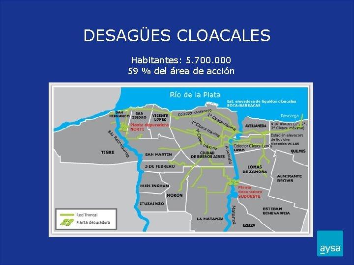 DESAGÜES CLOACALES Habitantes: 5. 700. 000 59 % del área de acción