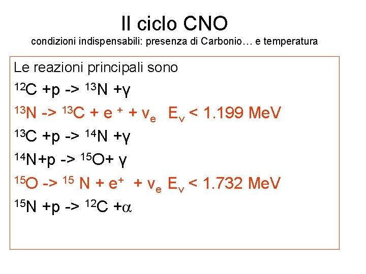 Il ciclo CNO condizioni indispensabili: presenza di Carbonio… e temperatura Le reazioni principali sono