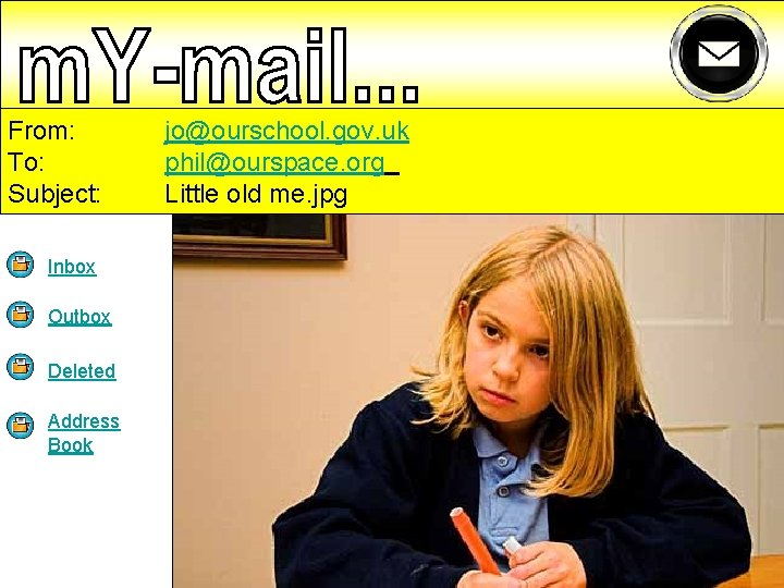 From: To: Subject: Inbox Outbox Deleted Address Book jo@ourschool. gov. uk phil@ourspace. org Little