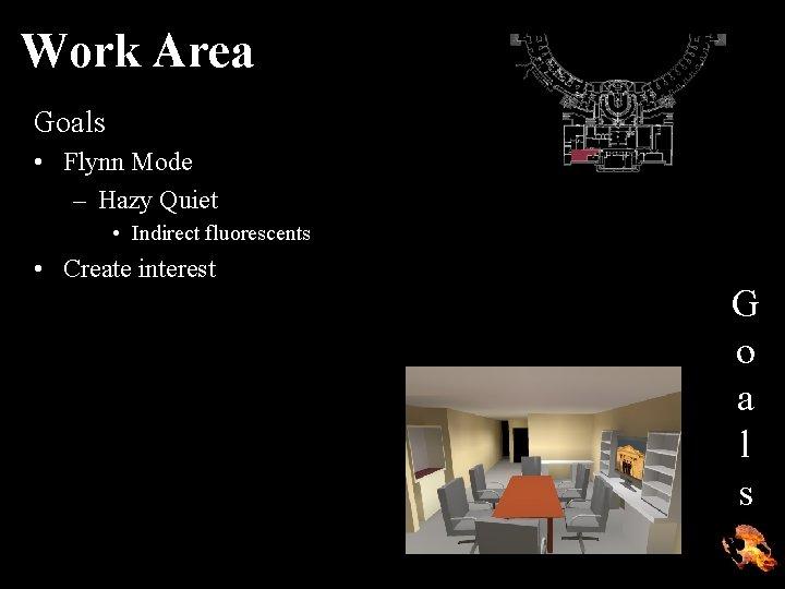 Work Area Goals • Flynn Mode – Hazy Quiet • Indirect fluorescents • Create