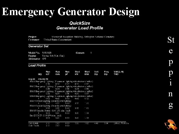 Emergency Generator Design St e p p i n g