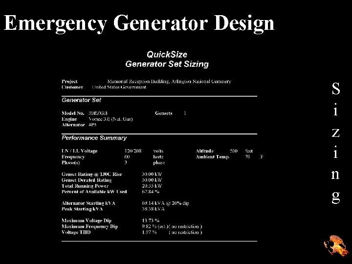 Emergency Generator Design S i z i n g