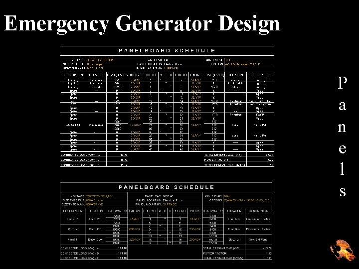 Emergency Generator Design P a n e l s
