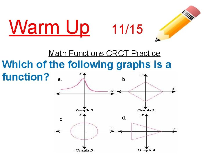Warm Up 11/15 Math Functions CRCT Practice Which of the following graphs is a