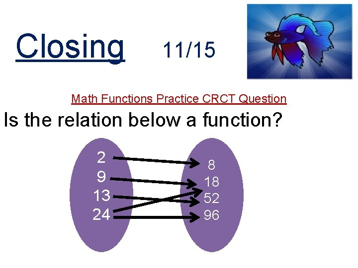 Closing 11/15 Math Functions Practice CRCT Question Is the relation below a function? 2