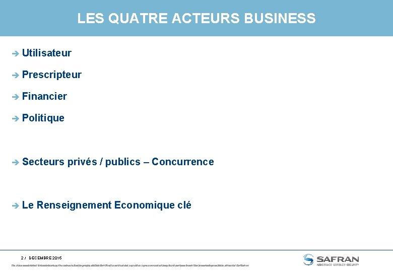 LES QUATRE ACTEURS BUSINESS è Utilisateur è Prescripteur è Financier è Politique è Secteurs