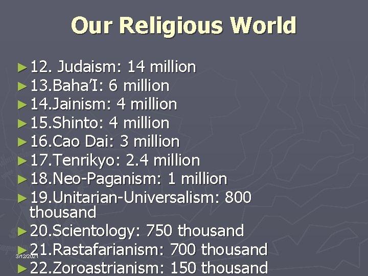 Our Religious World ► 12. Judaism: 14 million ► 13. Baha'I: 6 million ►