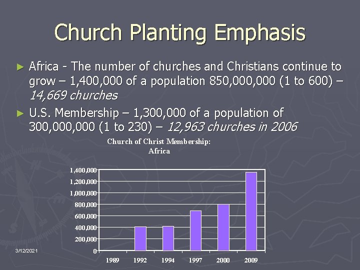 Church Planting Emphasis ► Africa - The number of churches and Christians continue to