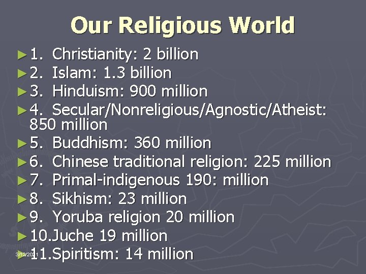 Our Religious World ► 1. ► 2. ► 3. ► 4. Christianity: 2 billion