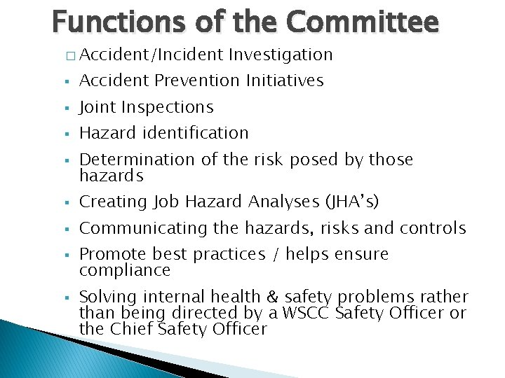 Functions of the Committee � Accident/Incident Investigation § Accident Prevention Initiatives § Joint Inspections