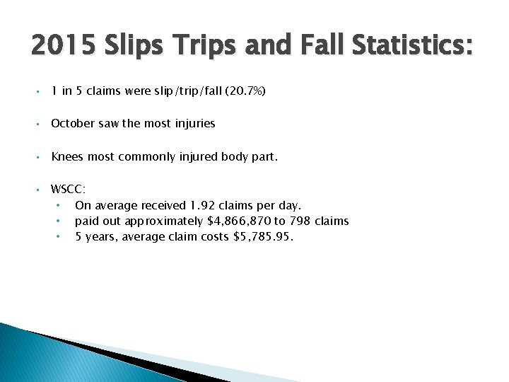 2015 Slips Trips and Fall Statistics: • 1 in 5 claims were slip/trip/fall (20.