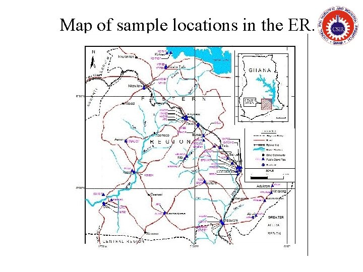 Map of sample locations in the ER.