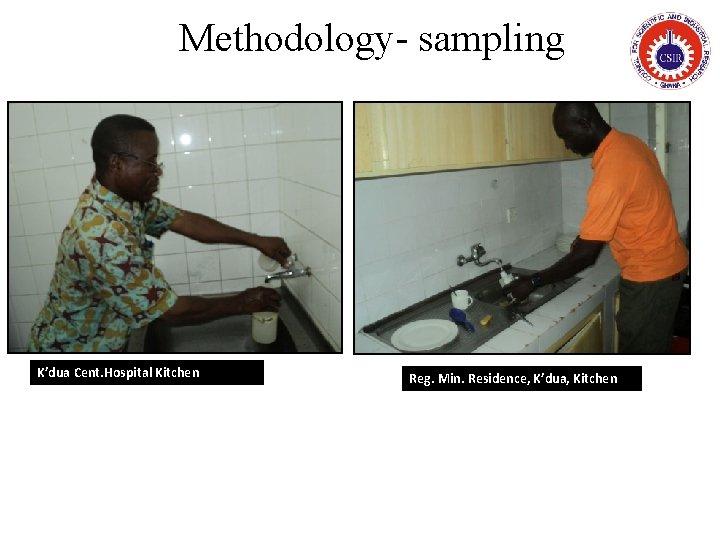 Methodology- sampling K'dua Cent. Hospital Kitchen Reg. Min. Residence, K'dua, Kitchen