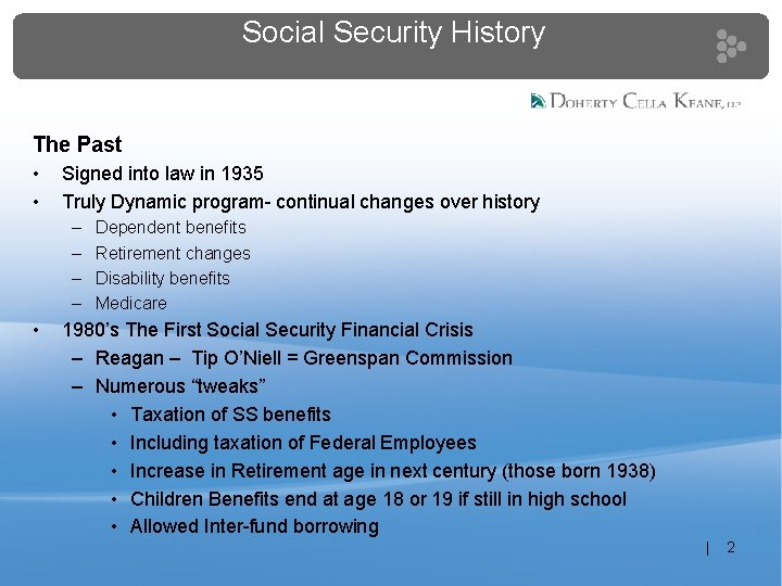 Social Security History The Past • • Signed into law in 1935 Truly Dynamic