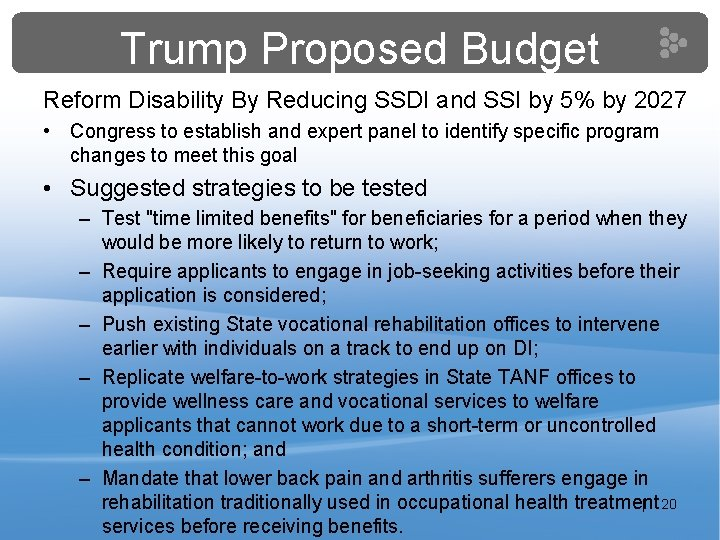Trump Proposed Budget Reform Disability By Reducing SSDI and SSI by 5% by 2027