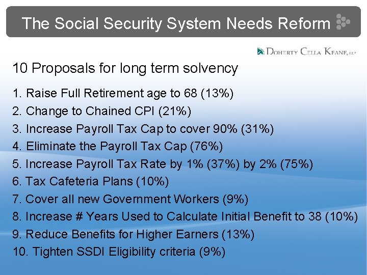 The Social Security System Needs Reform 10 Proposals for long term solvency 1. Raise