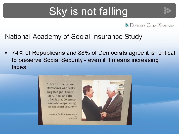 Sky is not falling National Academy of Social Insurance Study • 74% of Republicans
