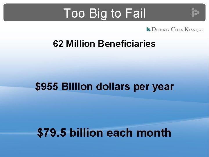 Too Big to Fail 62 Million Beneficiaries $955 Billion dollars per year $79. 5
