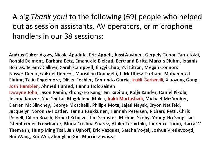 A big Thank you! to the following (69) people who helped out as session