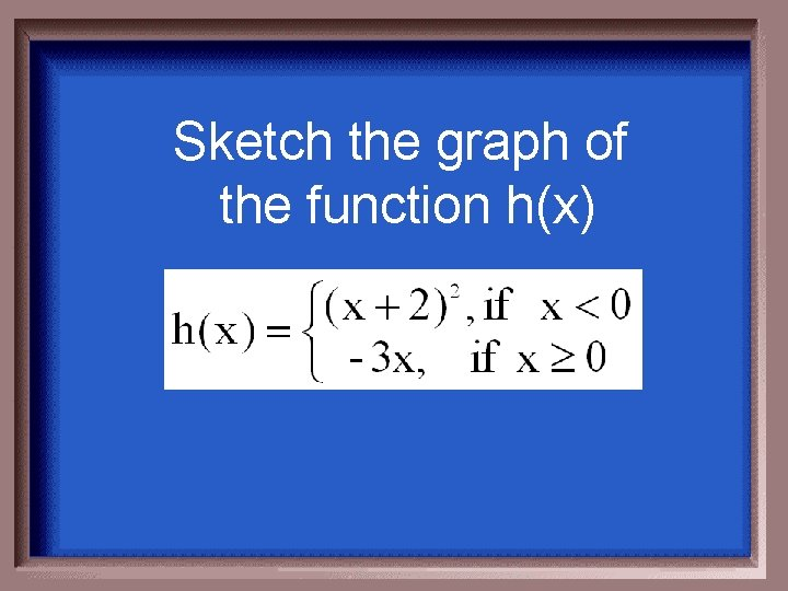 Sketch the graph of the function h(x)