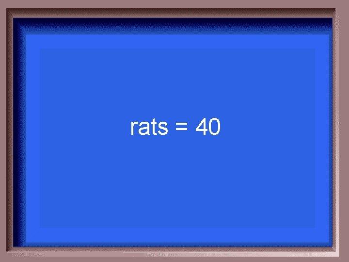 rats = 40