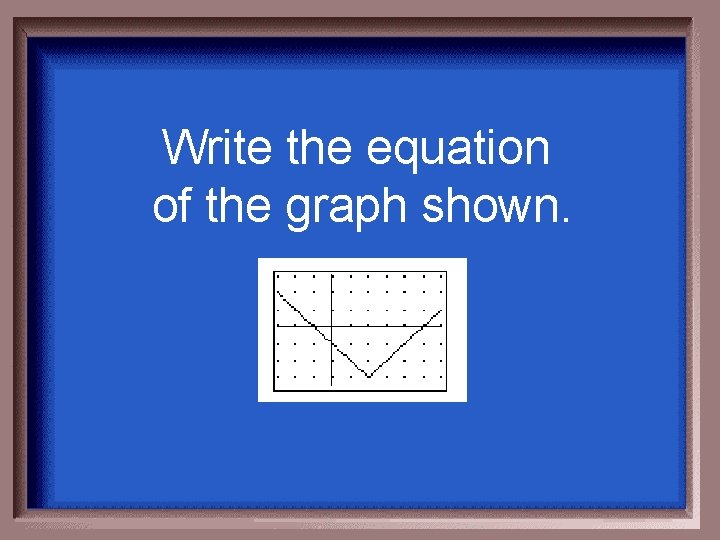 Write the equation of the graph shown.