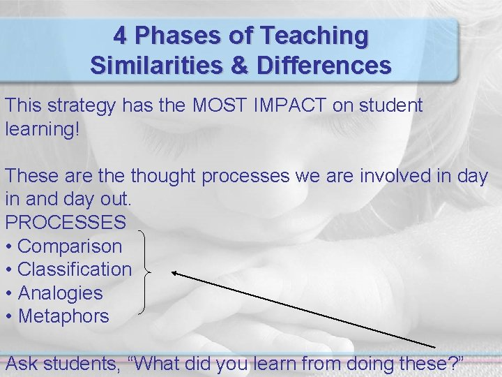4 Phases of Teaching Similarities & Differences This strategy has the MOST IMPACT on