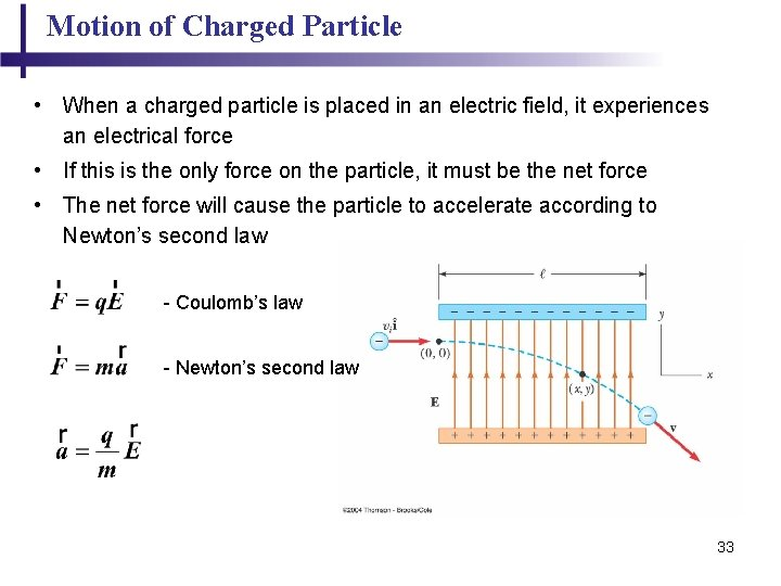 Motion of Charged Particle • When a charged particle is placed in an electric