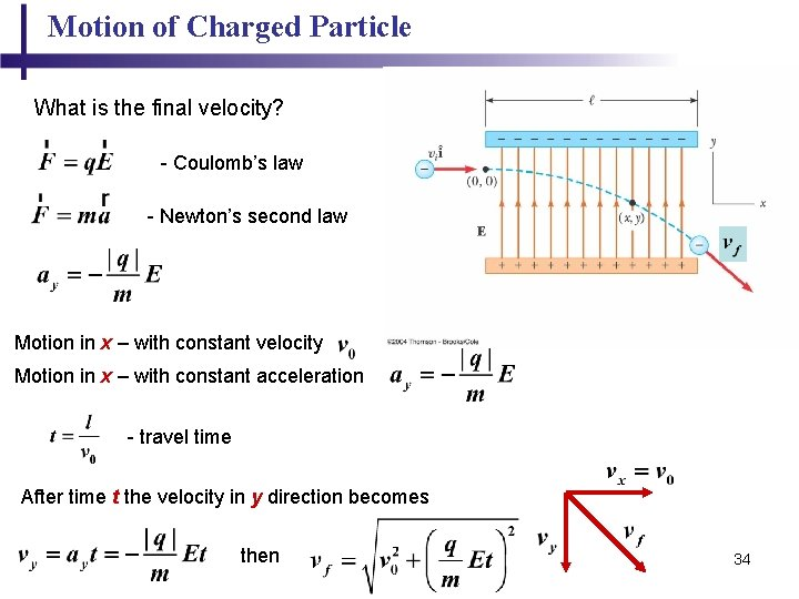 Motion of Charged Particle What is the final velocity? - Coulomb's law - Newton's