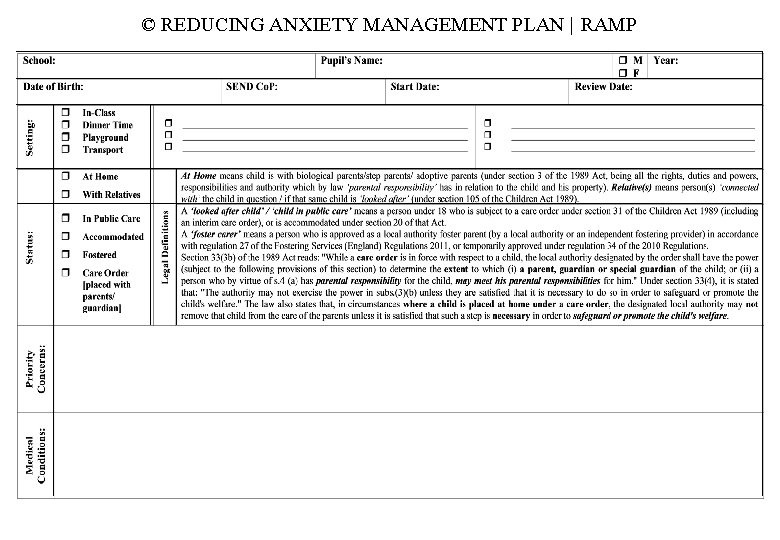 © REDUCING ANXIETY MANAGEMENT PLAN | RAMP