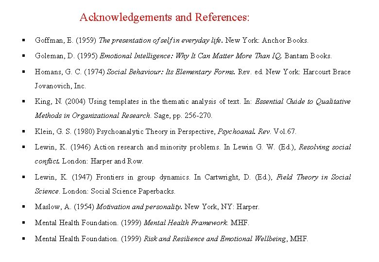 Acknowledgements and References: Goffman, E. (1959) The presentation of self in everyday life. New
