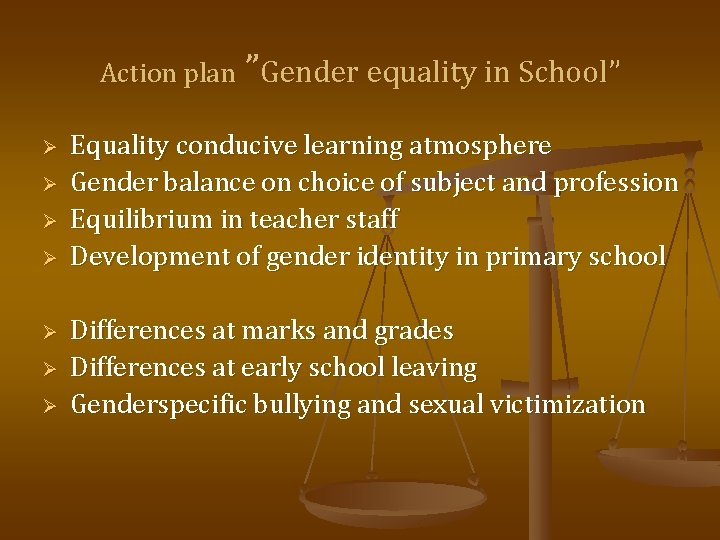 "Action plan ""Gender equality in School"" Ø Ø Ø Ø Equality conducive learning atmosphere"
