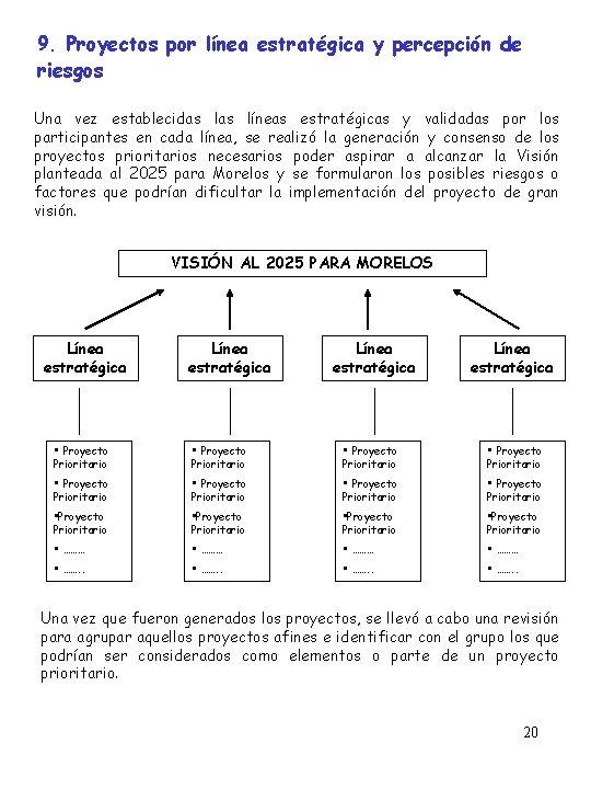 9. Proyectos por línea estratégica y percepción de riesgos Una vez establecidas líneas estratégicas