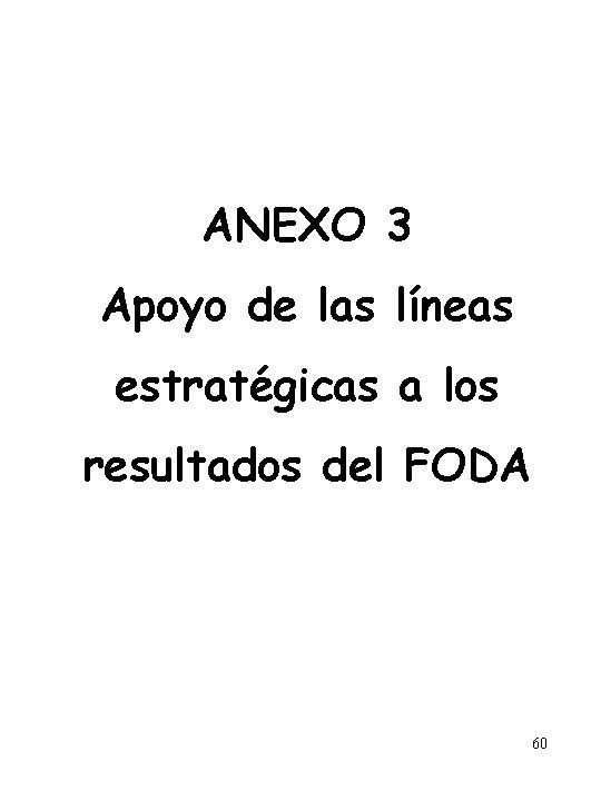 ANEXO 3 Apoyo de las líneas estratégicas a los resultados del FODA 60