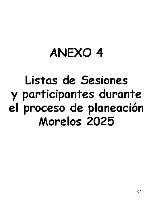 ANEXO 4 Listas de Sesiones y participantes durante el proceso de planeación Morelos 2025