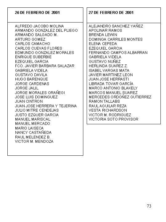 26 DE FEBRERO DE 2001 27 DE FEBRERO DE 2001 ALFREDO JACOBO MOLINA ARMANDO