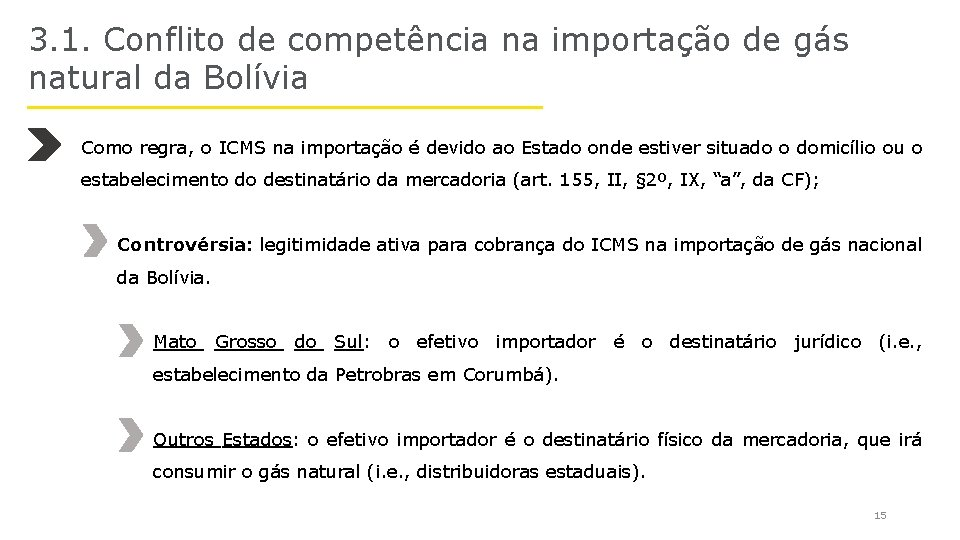 3. 1. Conflito de competência na importação de gás natural da Bolívia Como regra,