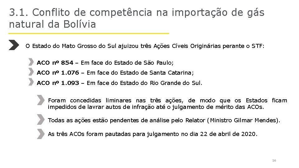 3. 1. Conflito de competência na importação de gás natural da Bolívia O Estado