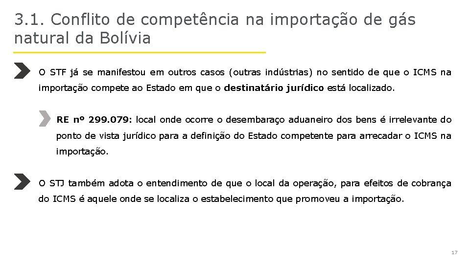 3. 1. Conflito de competência na importação de gás natural da Bolívia O STF