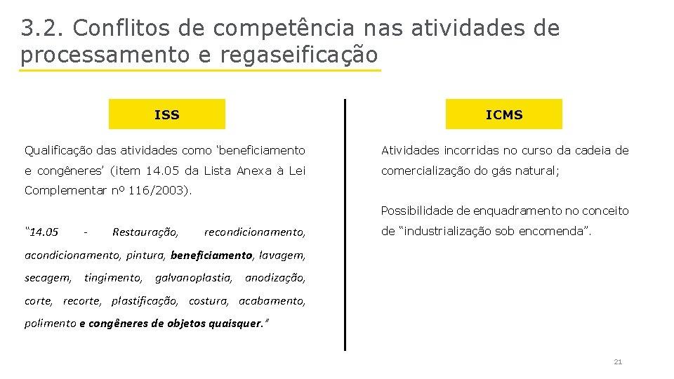 3. 2. Conflitos de competência nas atividades de processamento e regaseificação ISS ICMS Qualificação