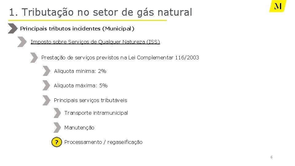 1. Tributação no setor de gás natural Principais tributos incidentes (Municipal) Imposto sobre Serviços