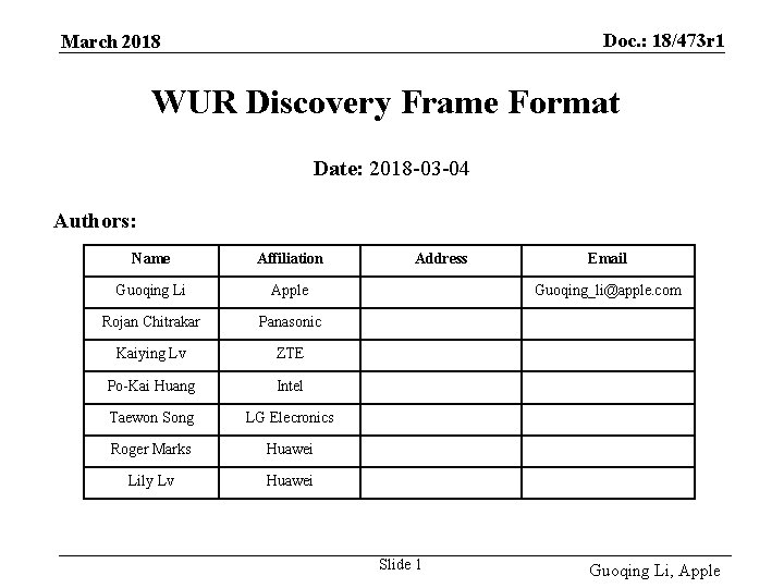 Doc. : 18/473 r 1 March 2018 WUR Discovery Frame Format Date: 2018 -03
