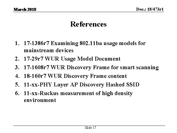 Doc. : 18/473 r 1 March 2018 References 1. 17 -1386 r 7 Examining
