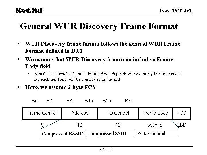 March 2018 Doc. : 18/473 r 1 General WUR Discovery Frame Format • WUR